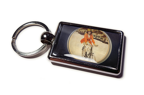 Coolrideplates® Double-sided Unique Vintage Metal Keyring Girl Cyclist Design