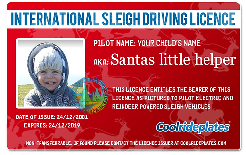 Coolrideplates® Kid's Santa's Little Helper driving licence