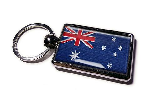 Coolrideplates® Double-sided Australia Flag Metal Keyring