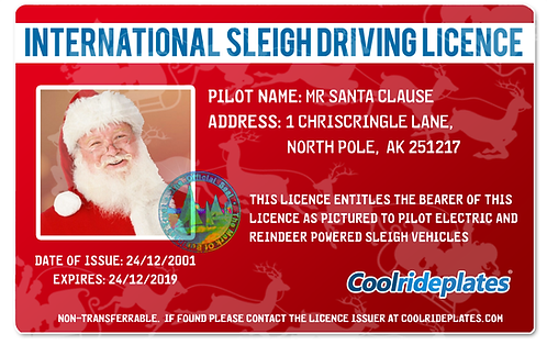 Coolrideplates® Kid's Santa Clause driving licence