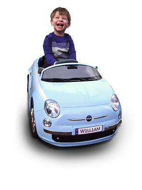 Happy chap in his ride on car