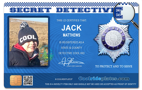 Coolrideplates® Kid's Personalised Detective style ID