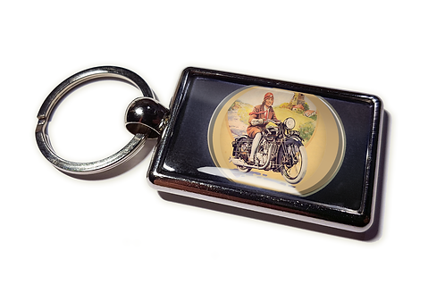 Coolrideplates® Double-sided Unique Vintage Metal Keyring MotorcyclistDesign