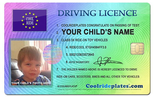 Coolrideplates® Kid's Personalised Driving Licence