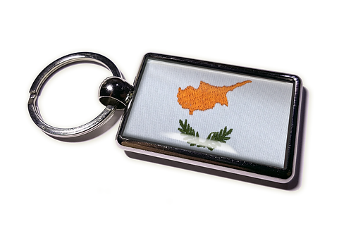 Coolrideplates® Double-sided Cyprus Flag Metal Keyring