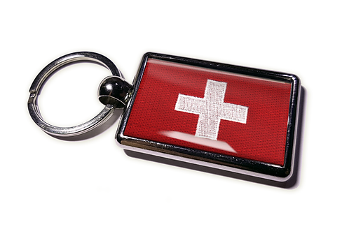 Coolrideplates® Double-sided Swiss Flag Metal Keyring