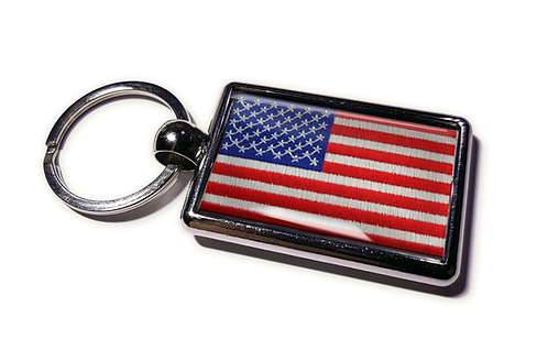 Coolrideplates® Double-sided USA Flag Metal Keyring