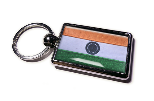 Coolrideplates® Double-sided India Flag Metal Keyring