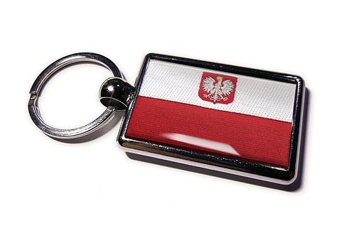 Coolrideplates® Double-sided Poland Flag Metal Keyring