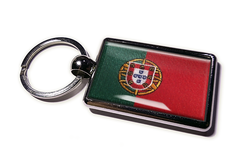 Coolrideplates® Double-sided Portugal Flag Metal Keyring