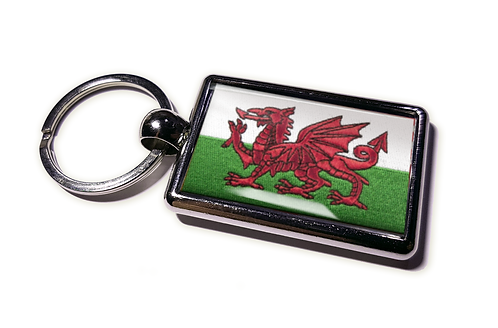 Coolrideplates® Double-sided Wales Flag Metal Keyring
