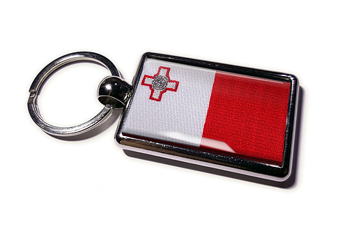 Coolrideplates® Double-sided Malta Flag Metal Keyring