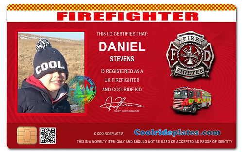 Coolrideplates® Kid's Personalised Firefighter style ID