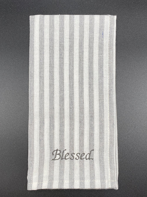 """Blessed"" Gray and White Cotton Striped Dinner Napkin, Set of 2"