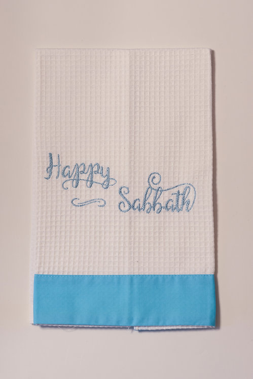 White Waffle Weave Guest Towel with Aqua Linen Border