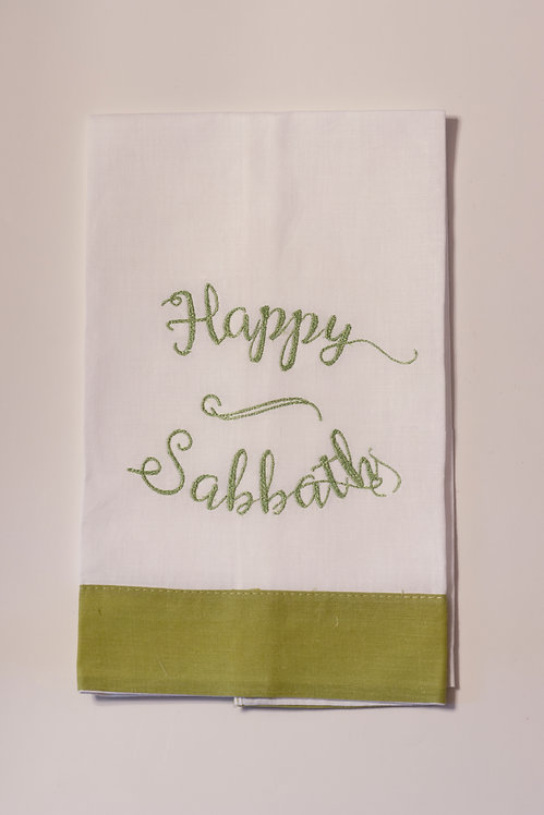 White Linen Guest Towel with Lime Green Border