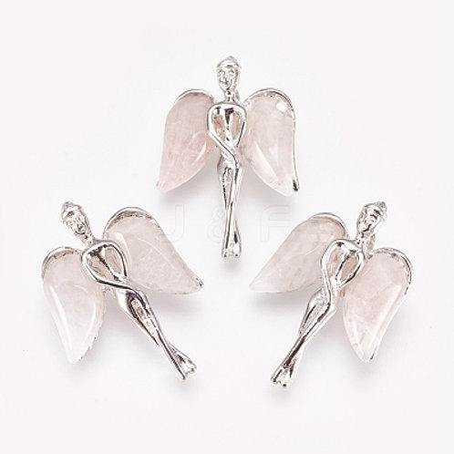 Natural Rose Quartz Angel Pendant