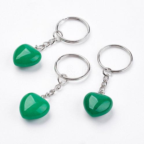 Natural Jade Heart Keychain
