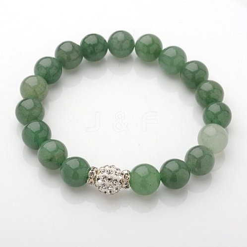 Green Aventurine Natural Gemstone Bracelet with Brass Rhinestone Beads