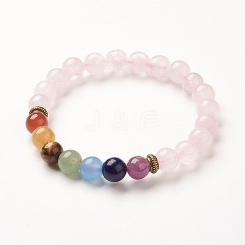 Healing chakra bracelet with natural rose quartz beads