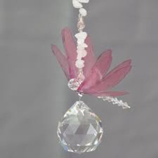 Lead Crystal Ball with Pink Dragon Fly