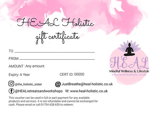 Gift Vouchers - for all Retreats, Therapies & Mindful Wellness Shop