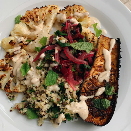 Roasted Eggplant with Herbed Quinoa & Lemon-Tahini Drizzle