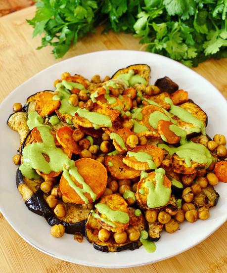 Roasted Eggplant, Sweet Potato & Chickpeas