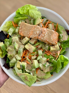 Deconstructed Spring Roll Salad with Sesame-Soy Tahini Dressing