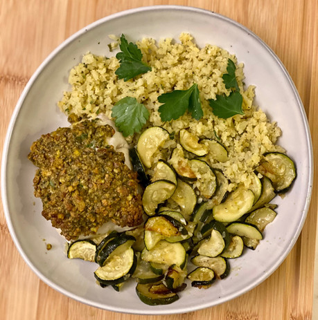 Pistachio-Crusted Cod with Vegetable Cauliflower Rice