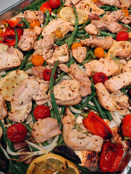 Mustardy Sheet-Pan Chicken with Green Beans, Potatoes, & Cherry Tomatoes