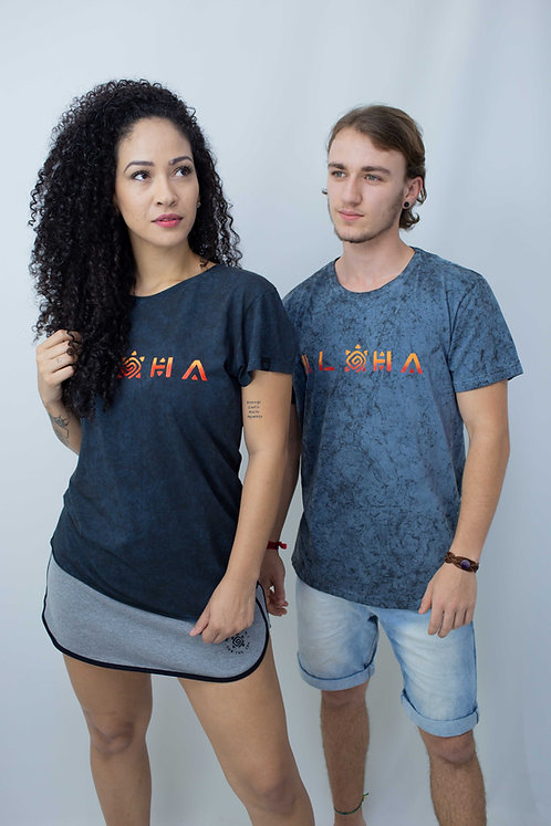 Camiseta feminina ALOHA gola redonda marmorizada