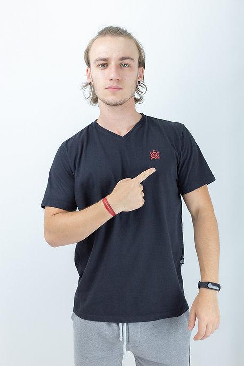 "Camiseta Masculina gola em ""V"" CONFORTPreta"