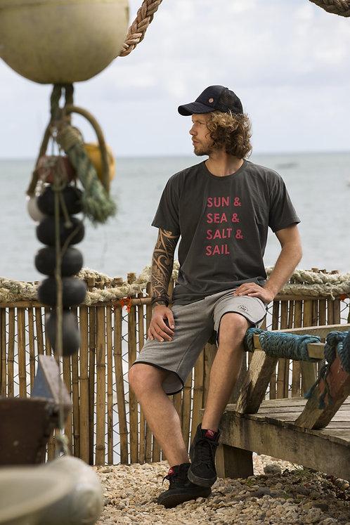 Camiseta Masculina SUN SEA SALT SAIL Chumbo