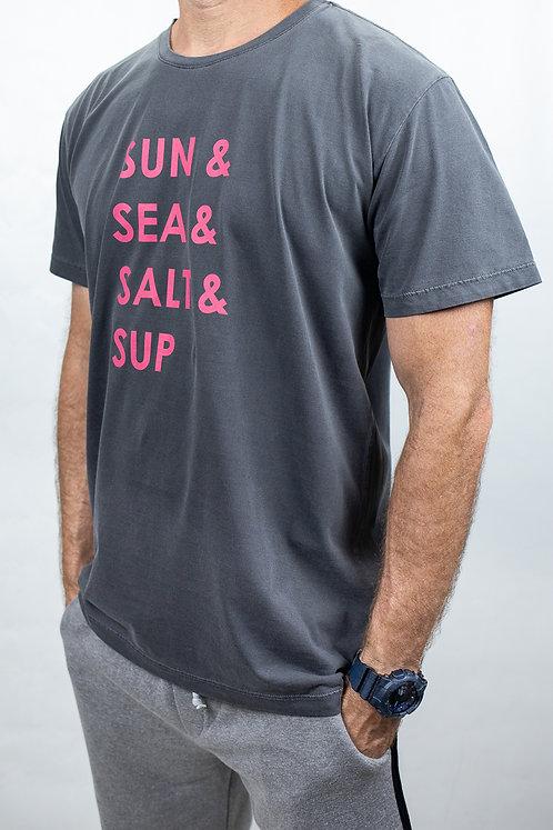 Camiseta Masculina SUN SEA SALT SUP Chumbo