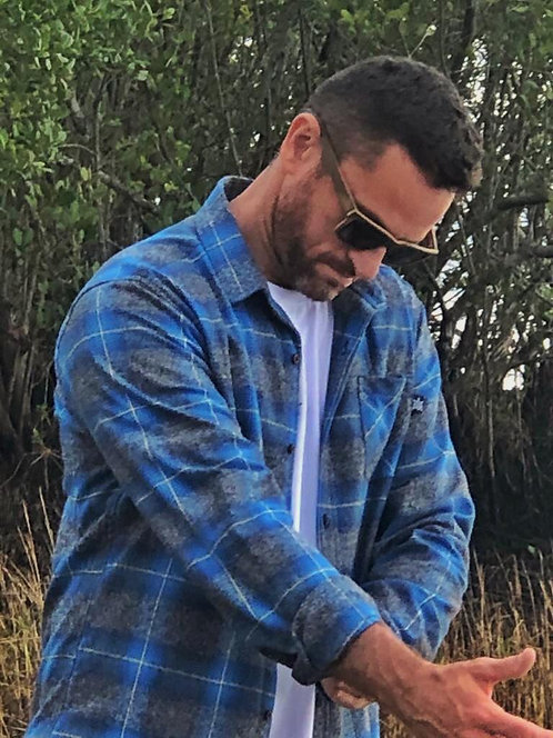 Camisa de Flanela Xadrez azul e grafite