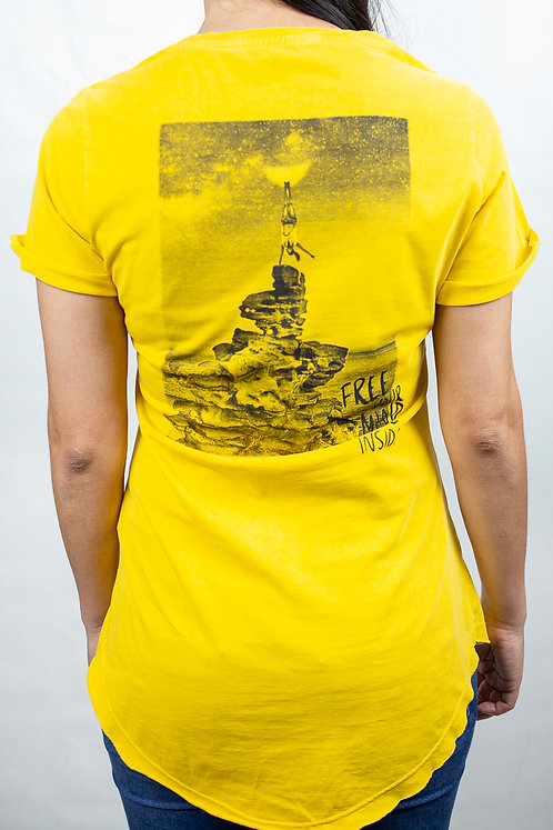 Camiseta Feminina FREE YOUR MIND Amarela