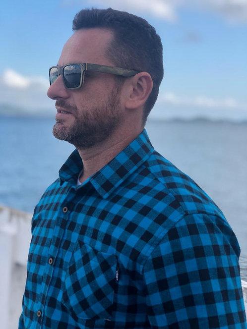 Camisa de Flanela Xadrez azul e Preto