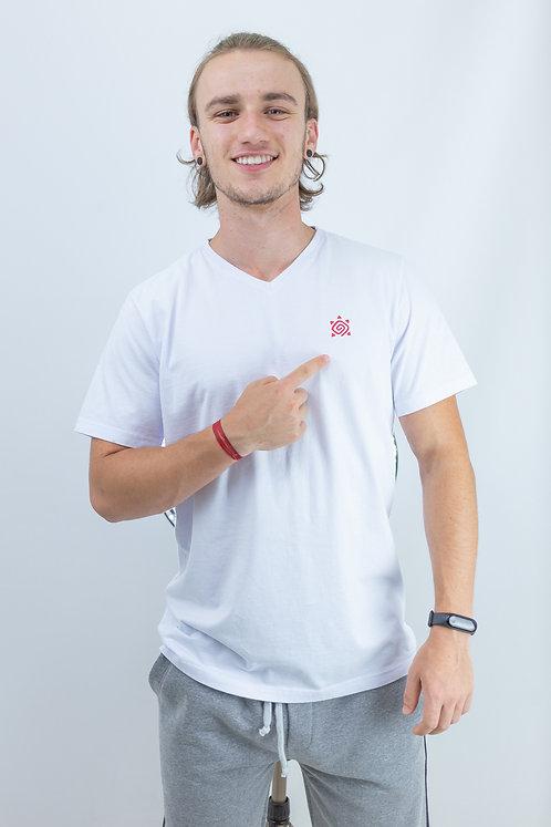 "Camiseta Masculina gola em ""V"" CONFORT Branca"