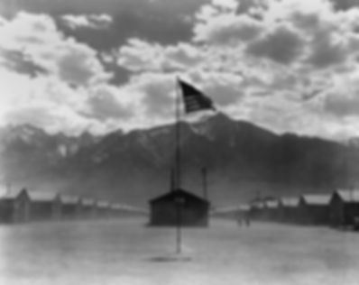 Dust storm at Manzanar internment camp f
