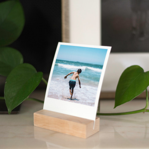 Wooden Photo Block with Five 4x5 Polaroid Style Lustre Prints