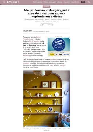 """Matéria da Casa e Jardim sobre a Mostra """"A Casa de Quem Cria"""", no Atelier Fernando Jaeger"""