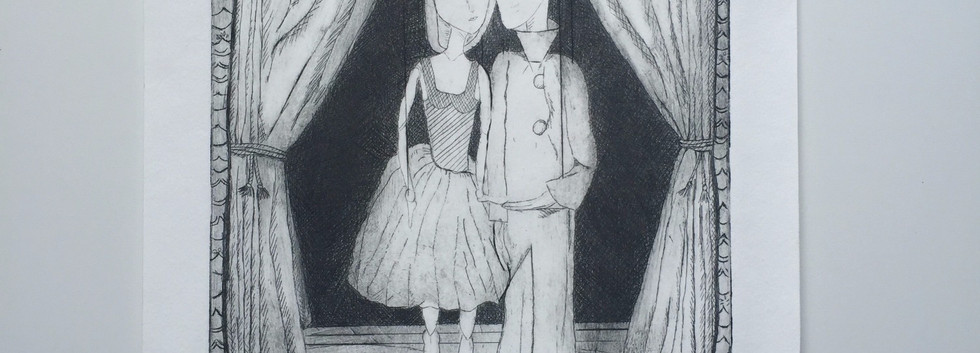 Les Marionettes - Dry Point Etching Print