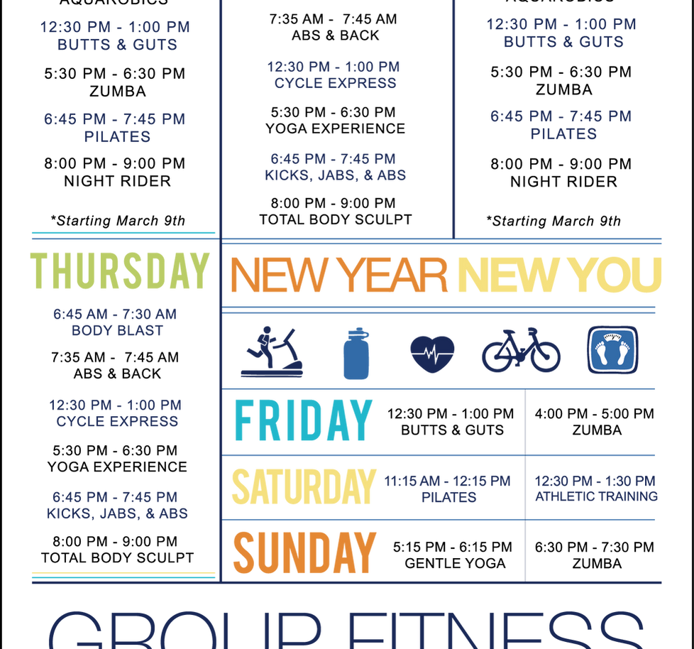 Fitness Group Schedule