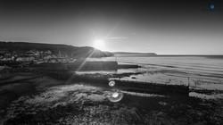 Aberaeron solstice groynes b&w