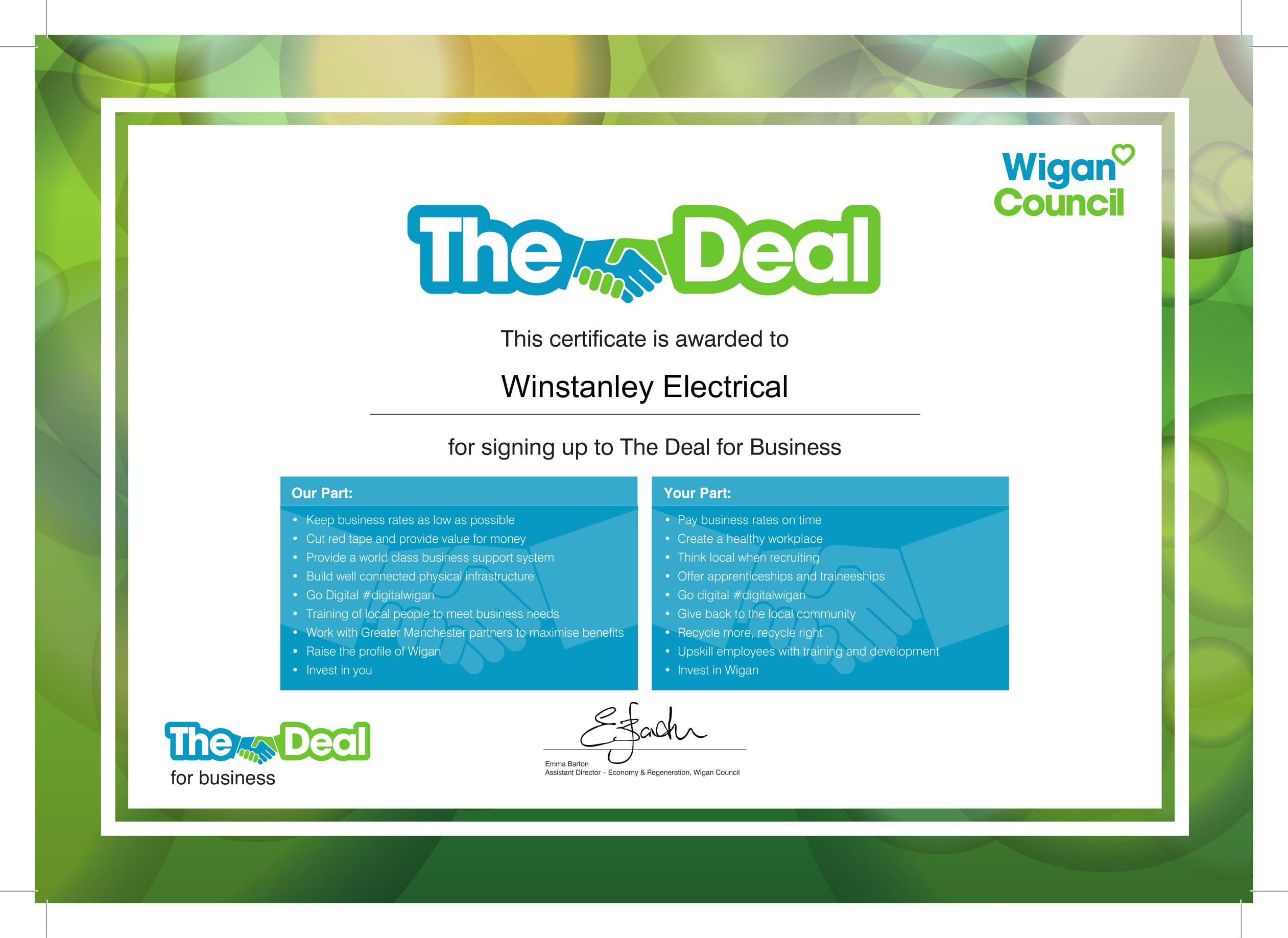 Winstanley Electrical Supports Wigan Councils Initiative The Deal Iee Wiring Regulations 17th Edition Free Download Niceic Electricians Services England