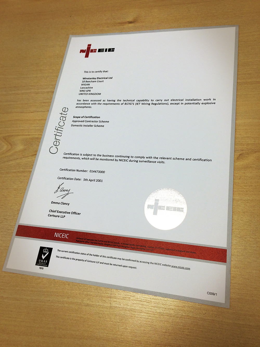 Continued Compliance - NICEIC