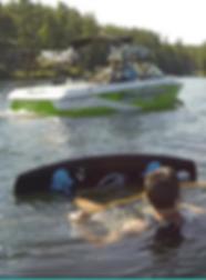 Wake bording in Lake Winnipesaukee