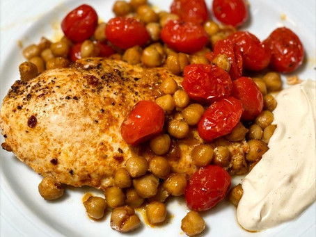Sheet Pan Chicken with Roasted Chickpeas and Tomatoes
