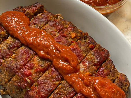 Meatloaf with Roasted Pepper Sauce